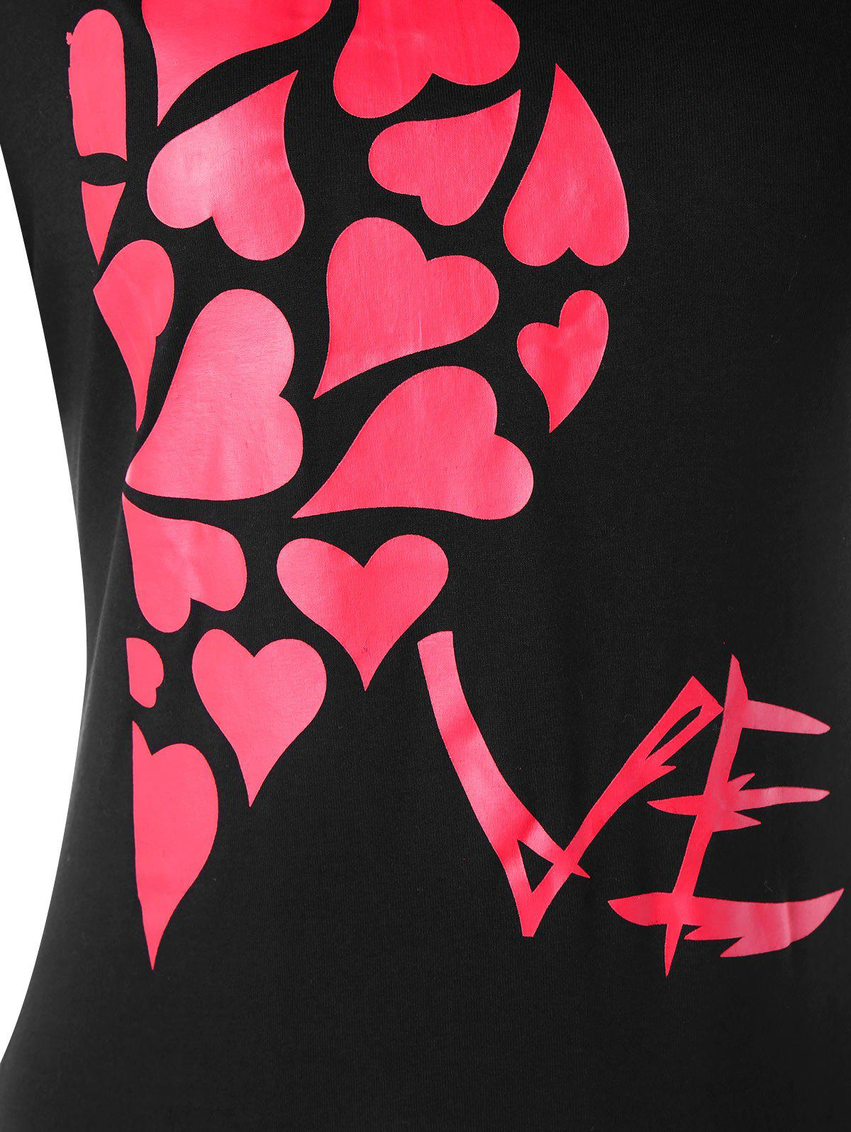 Valentines Day Heart Printed Matching Couple Short Sleeve T-shirt - BLACK WOMEN 2XL