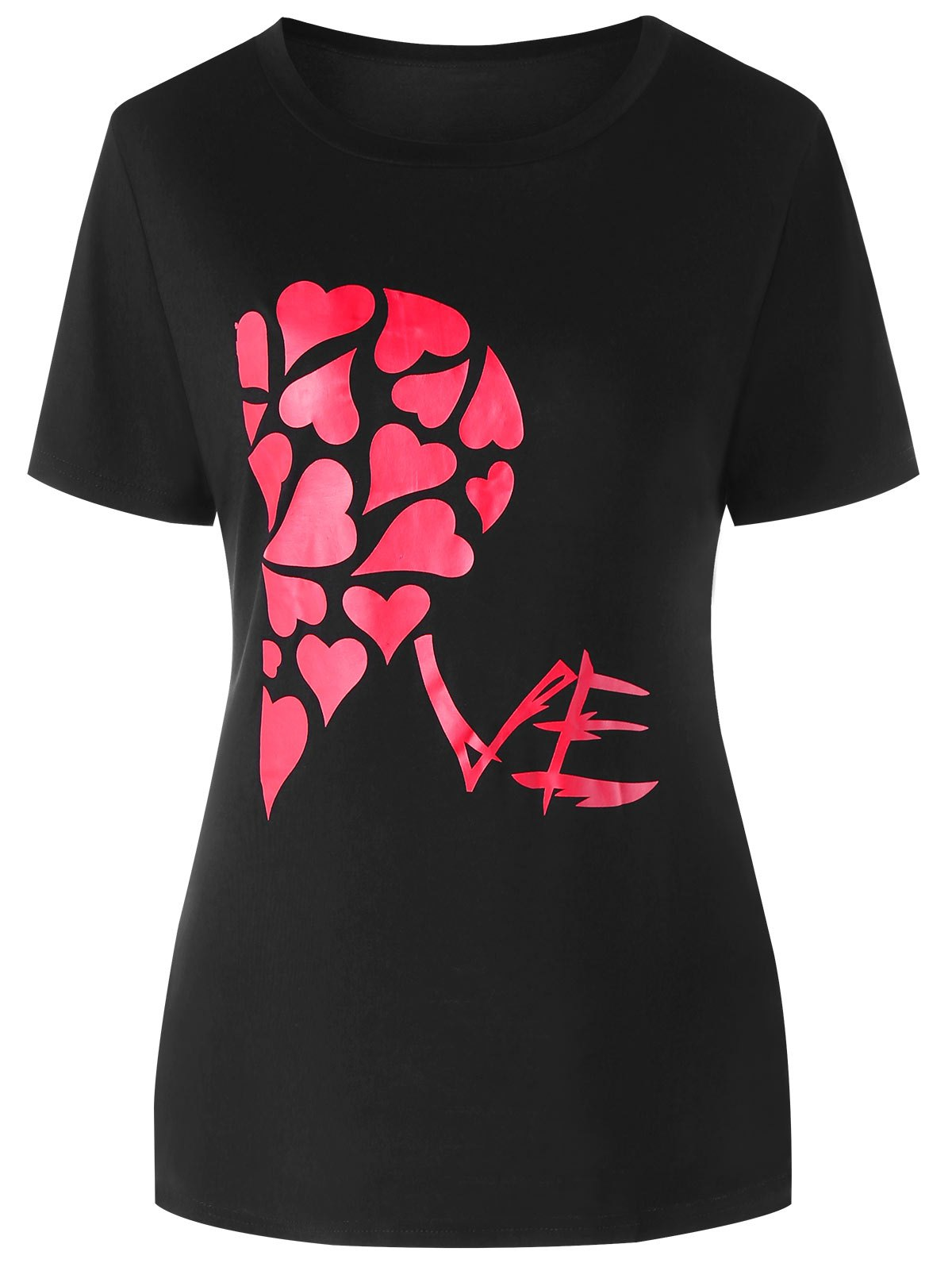 Valentines Day Heart Printed Matching Couple Short Sleeve T-shirt - BLACK WOMEN L