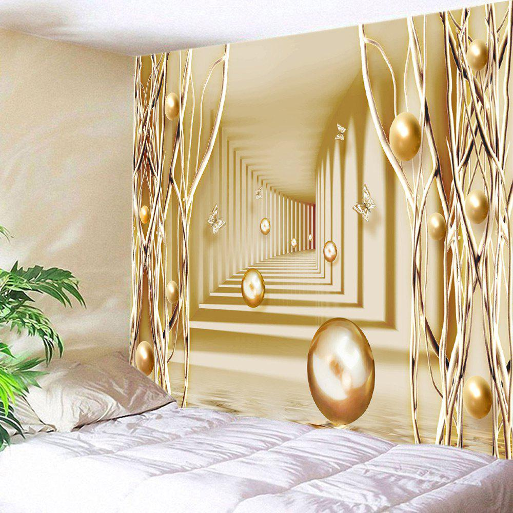 3D Passway with Butterfly Ball Printed Wall Hanging Tapestry - GOLDEN W79 INCH * L71 INCH