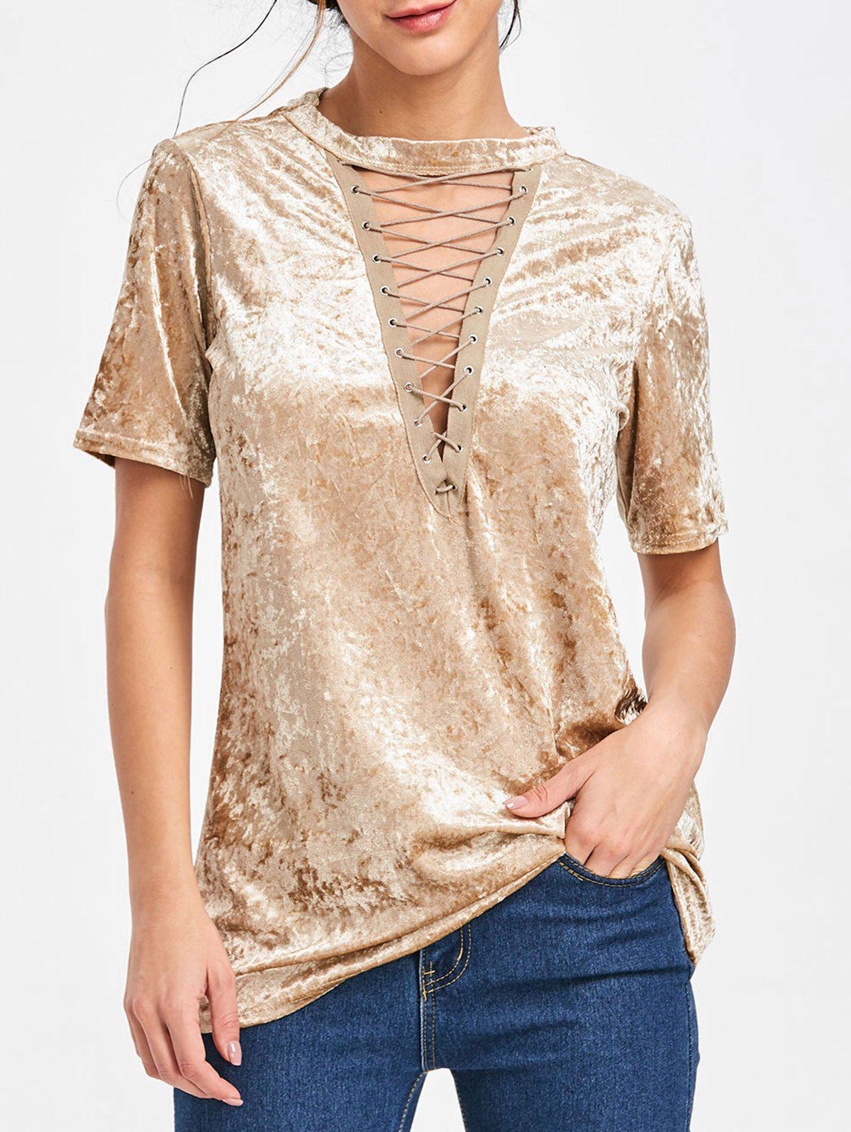 Low Cut Velvet Lace Up T-shirt - GOLDEN L