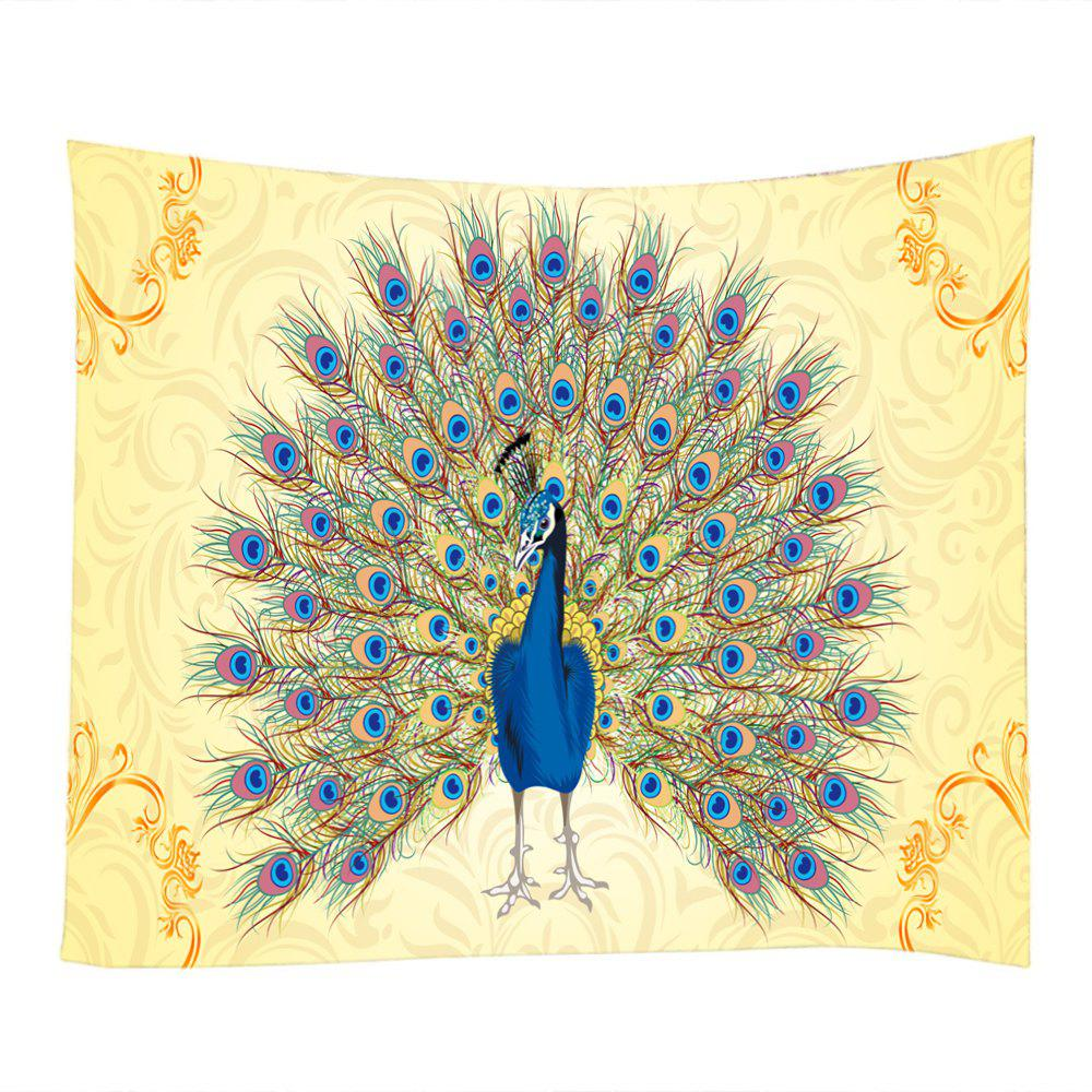 2018 Peacock Tail Print Wall Decoration Hanging Tapestry COLORMIX ...