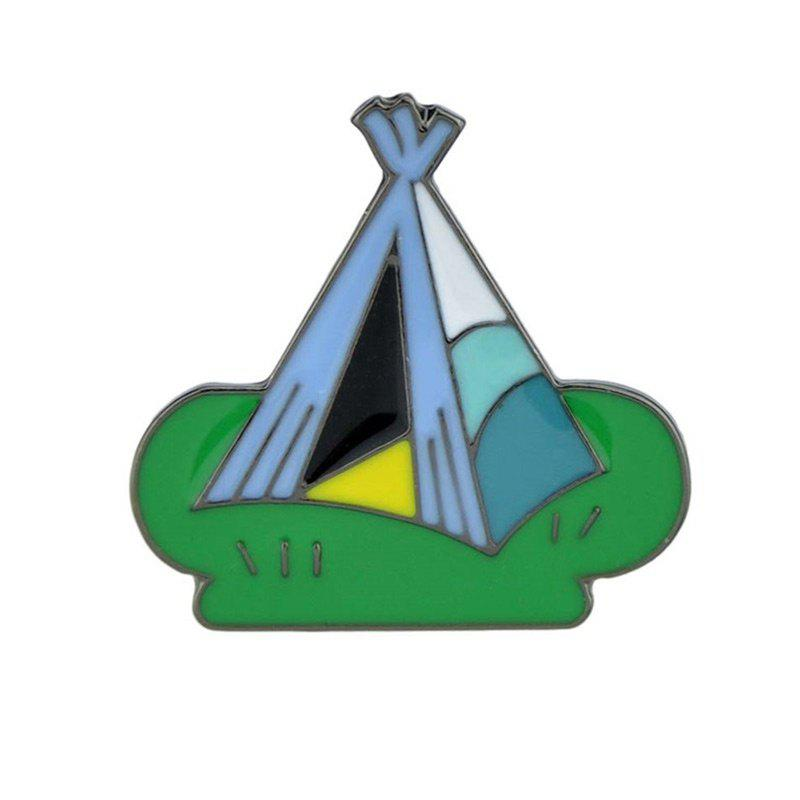 Cute Tiny Alloy Tent Brooch - GREEN