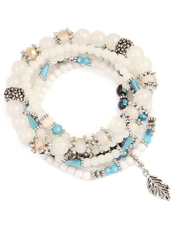 Beaded Glass Multilayered Wrap Bracelet - WHITE