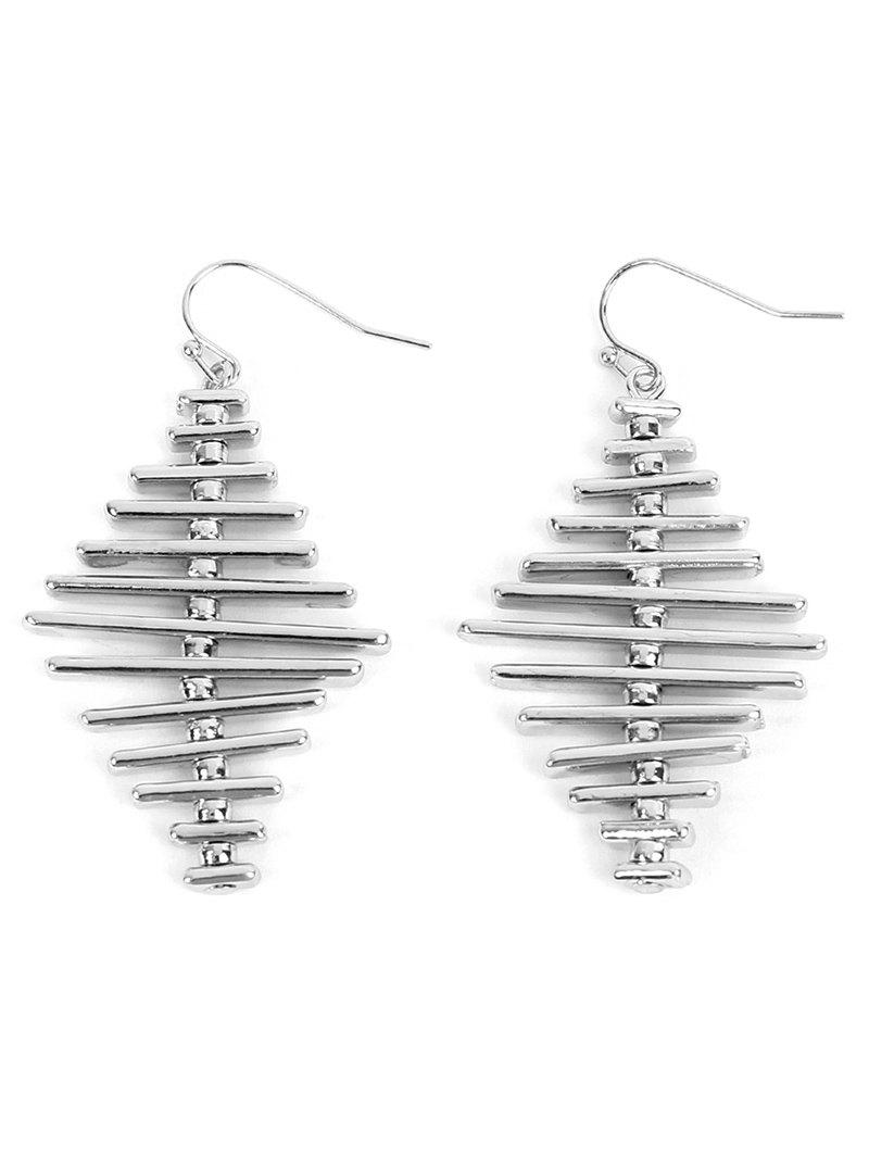 Simple Alloy Geometric Bar Hook Earrings - SILVER