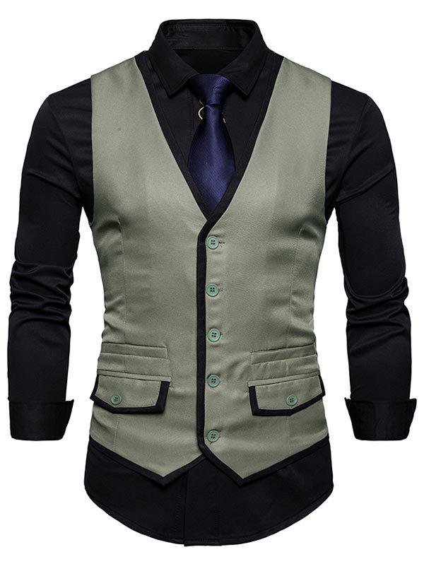 Contrast Trim Faux Pocket Single Breasted Waistcoat - SAGE GREEN XL