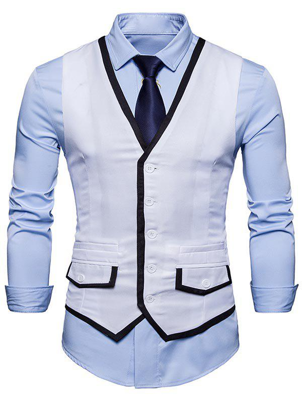 Contrast Trim Faux Pocket Single Breasted Waistcoat - WHITE L