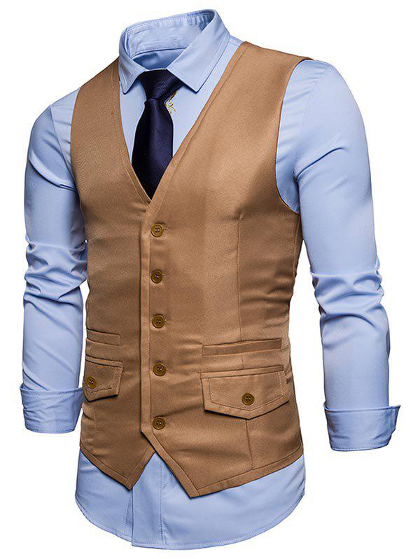 Contrast Trim Faux Pocket Single Breasted Waistcoat - KHAKI XL