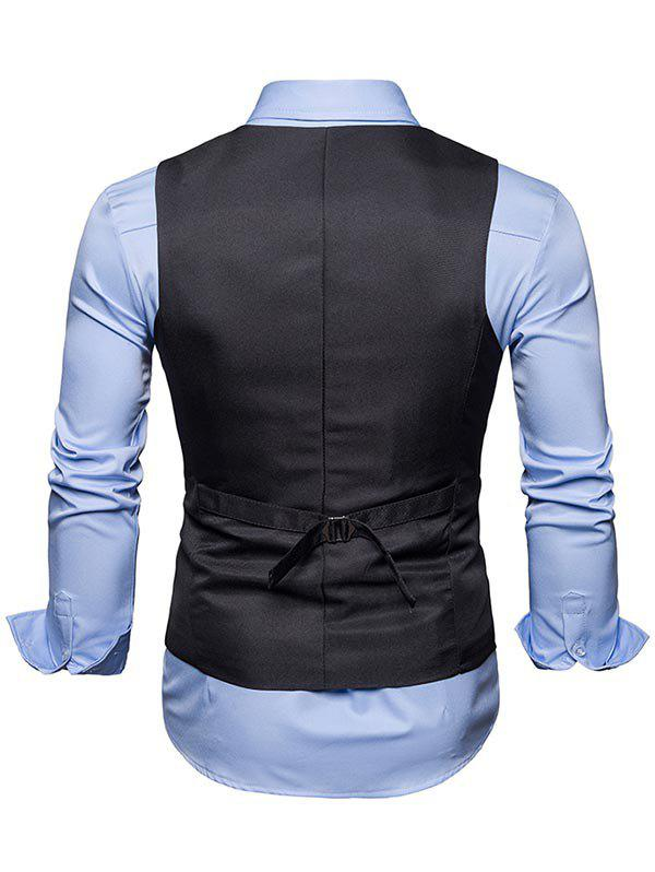 Single Breasted Belted V Neck Waistcoat - DEEP GRAY XL