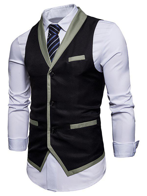 Single Breasted Shawl Collar Edging Waistcoat - BLACK S