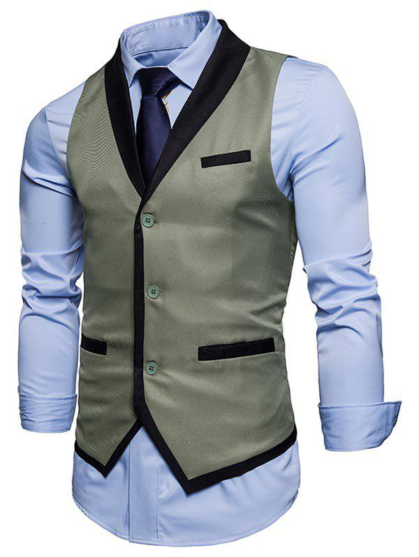 Single Breasted Shawl Collar Edging Waistcoat - SAGE GREEN XL