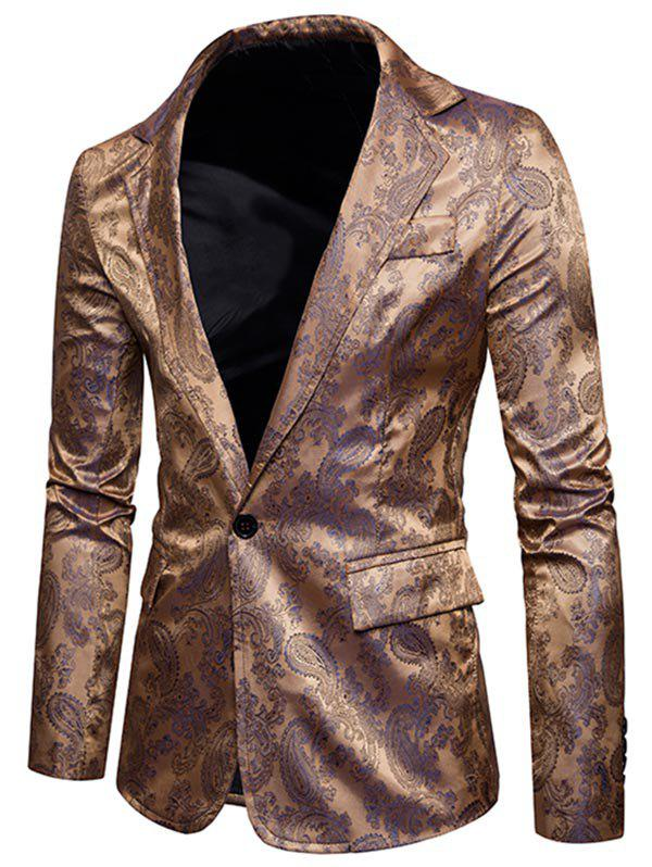 Flap Pocket One Button Vintage Paisley Blazer - GOLDEN M