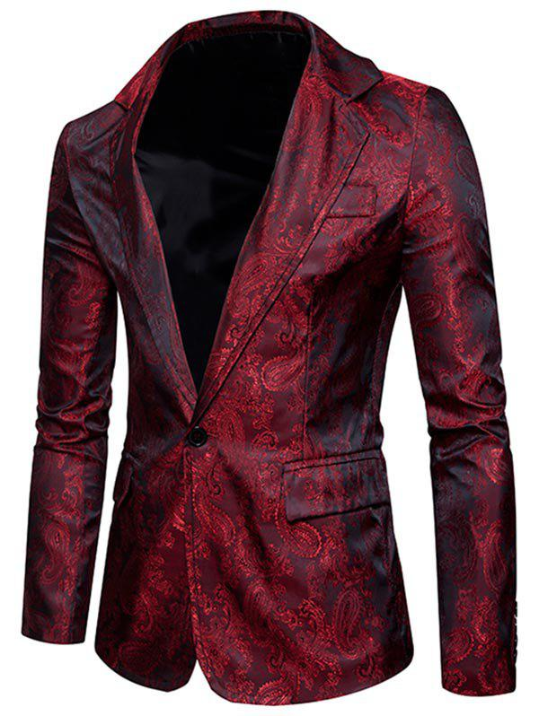 Flap Pocket One Button Vintage Paisley Blazer - WINE RED XL