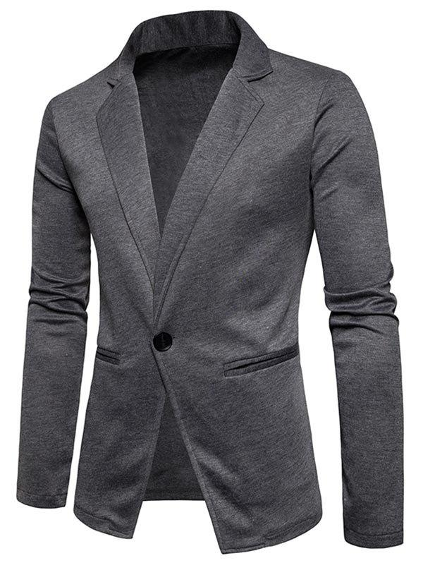 One Button Lapel Cotton Blend Blazer - DEEP GRAY L