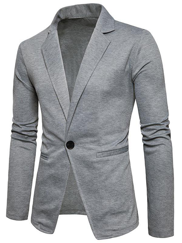One Button Lapel Cotton Blend Blazer - LIGHT GRAY L