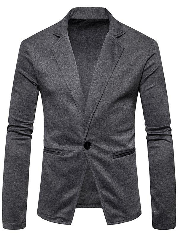 One Button Lapel Collar Cotton Blend Blazer - DEEP GRAY L