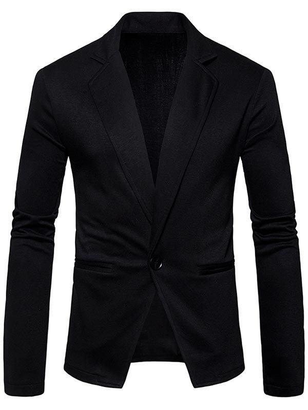 One Button Lapel Collar Cotton Blend Blazer - BLACK M