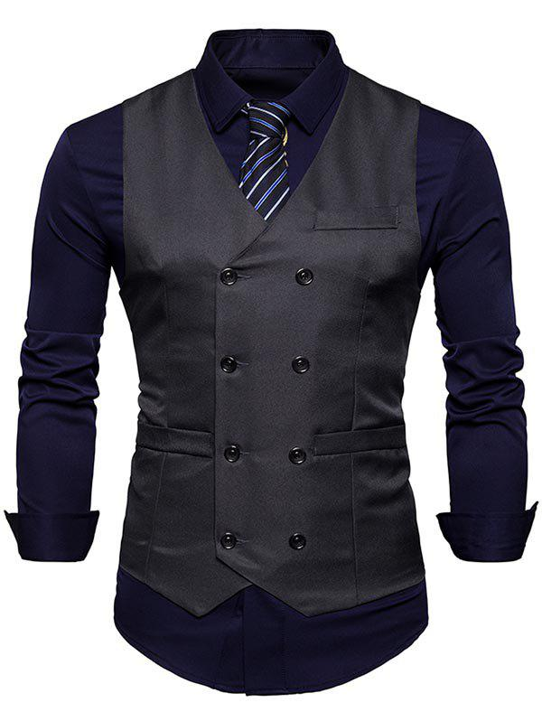 Slim Fit V Neck Double Breasted Waistcoat - DEEP GRAY XL