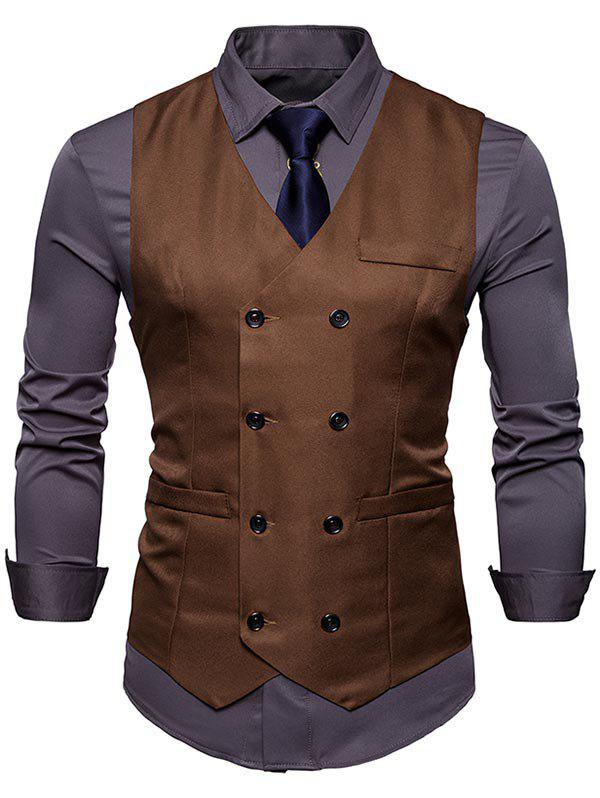 Slim Fit V Neck Double Breasted Waistcoat - CAPPUCCINO M