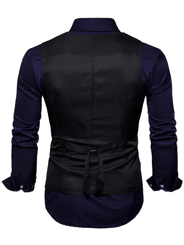 Slim Fit V Neck Double Breasted Waistcoat - BLACK XL