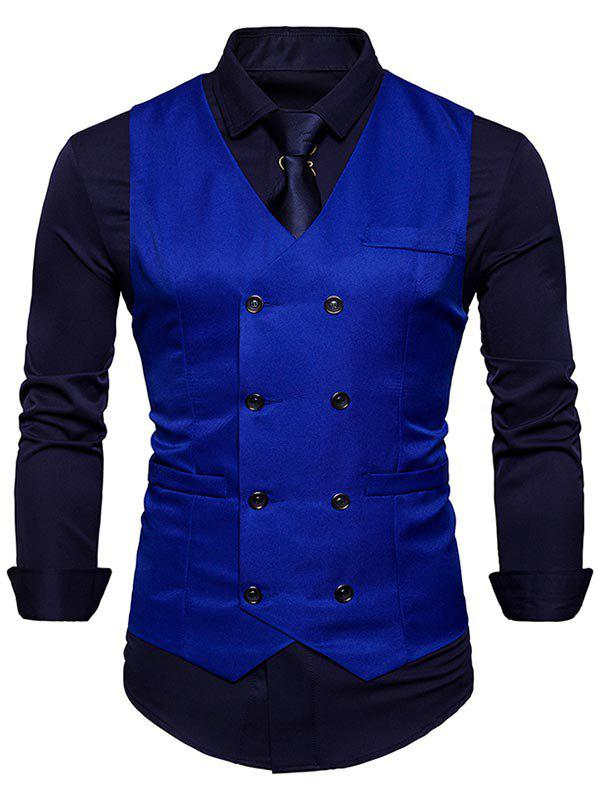 Gilet Slim Fit à col en V et à double boutonnage - Royal L