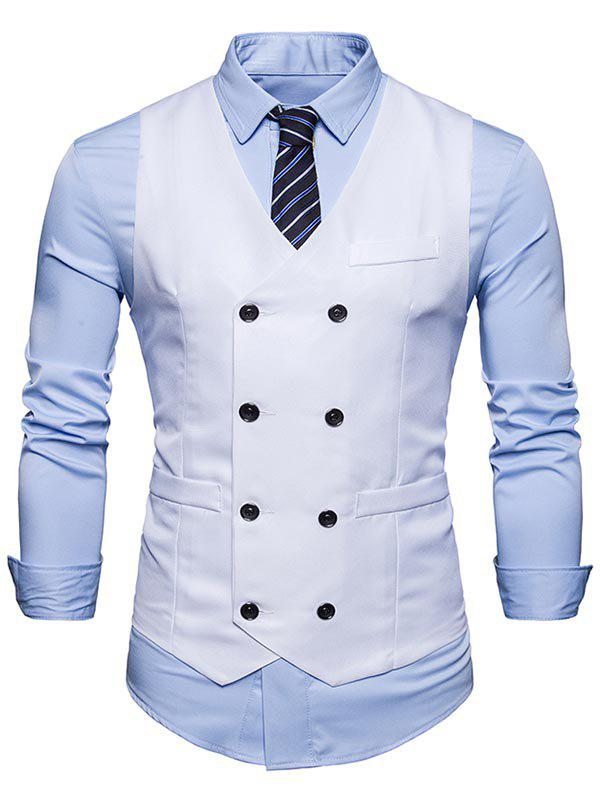 Slim Fit V Neck Double Breasted Waistcoat - WHITE XL