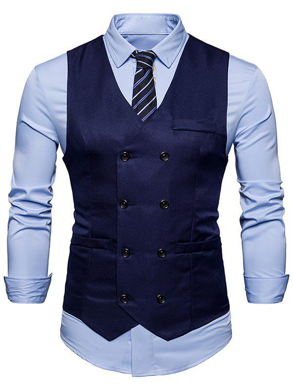 Slim Fit V Neck Double Breasted Waistcoat - PURPLISH BLUE M