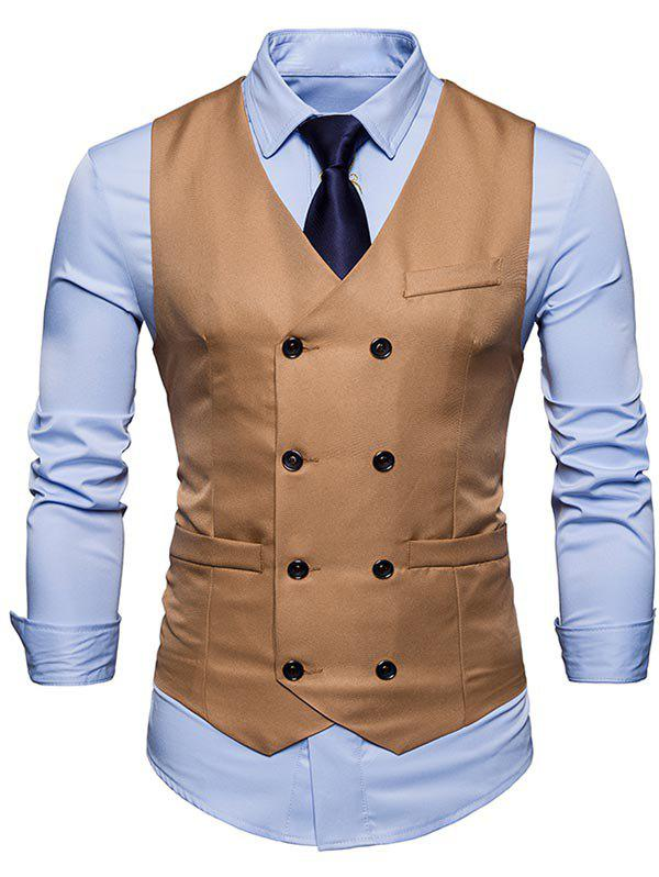 Slim Fit V Neck Double Breasted Waistcoat - KHAKI S