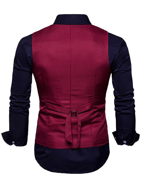 Slim Fit V Neck Double Breasted Waistcoat - WINE RED 2XL