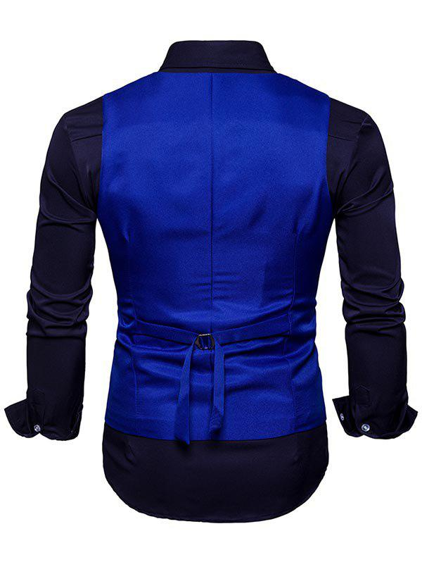 Slim Fit V Neck Double Breasted Waistcoat - ROYAL XL