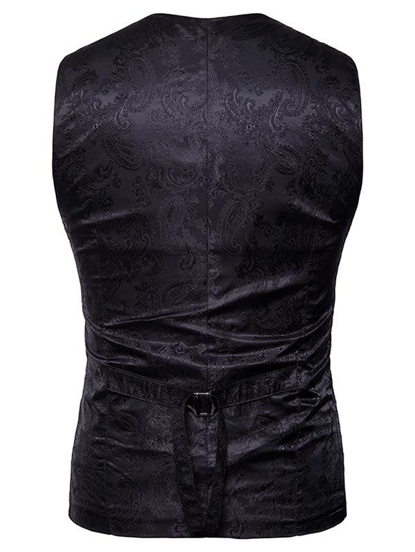 Double Breasted Paisley Pattern Waistcoat - BLACK L