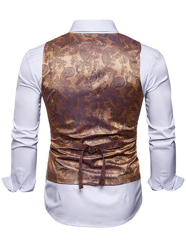 Double Breasted Paisley Pattern Waistcoat - GOLDEN L