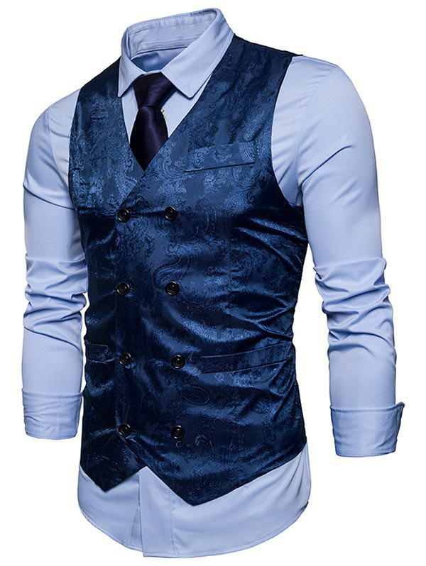 Double Breasted Paisley Pattern Waistcoat - BLUE XL