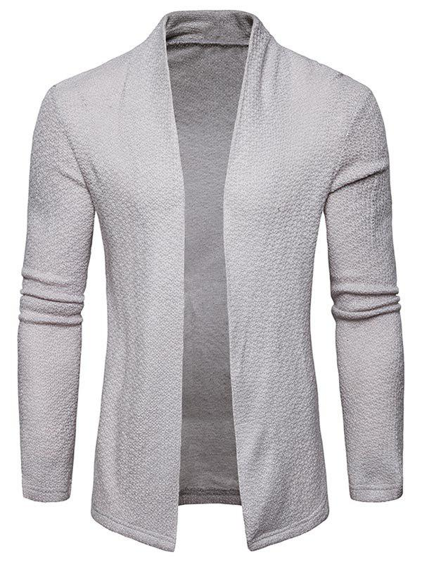 Textured Shawl Collar Open Front Cardigan - LIGHT GRAY L