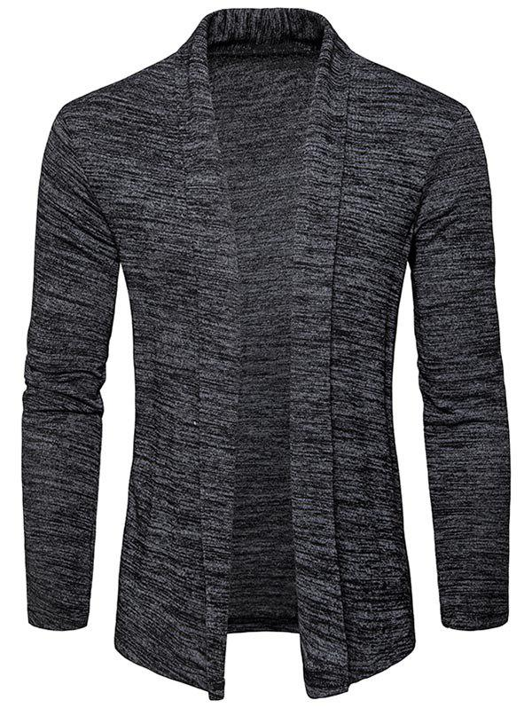 Space Dye Shawl Collar Open Front Cardigan - DEEP GRAY 2XL