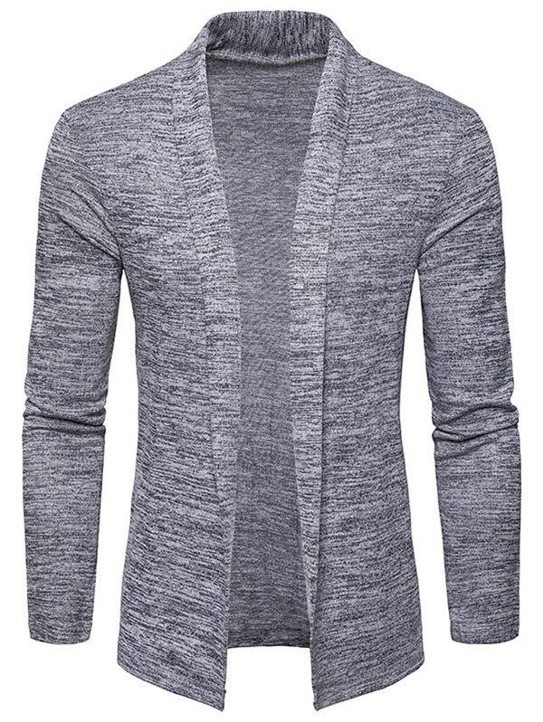 Space Dye Shawl Collar Open Front Cardigan - LIGHT GRAY L