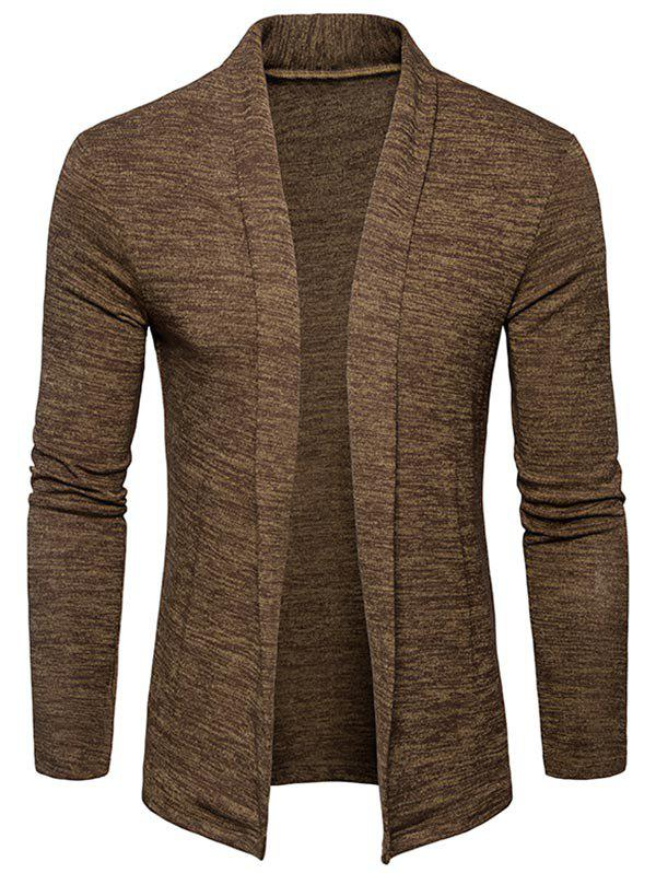 Space Dye Shawl Collar Open Front Cardigan - CAPPUCCINO 2XL
