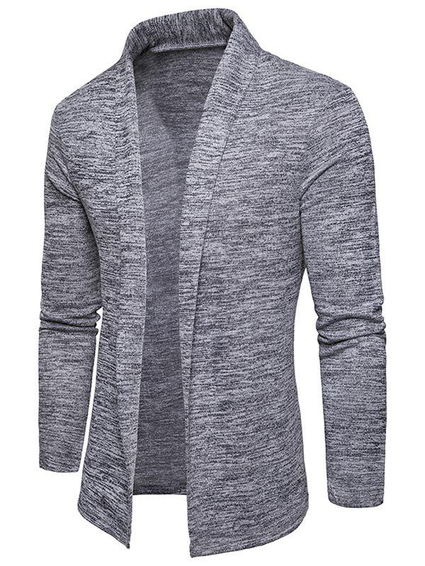Space Dye Shawl Collar Open Front Cardigan - LIGHT GRAY XL