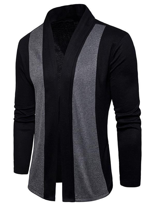 Shawl Collar Two Tone Open Front Cardigan - BLACK L
