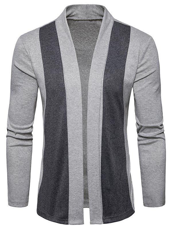 Shawl Collar Two Tone Open Front Cardigan - LIGHT GRAY L