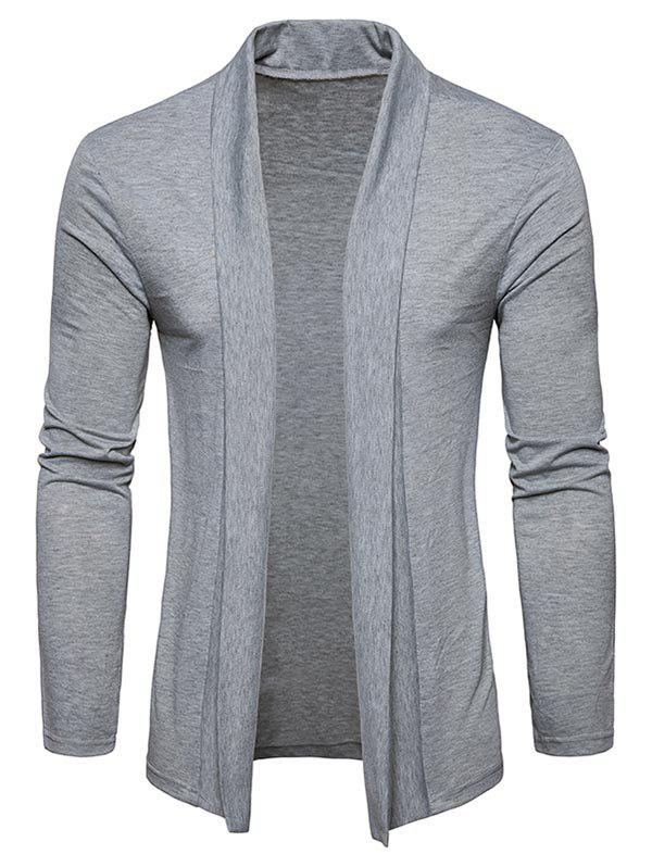 Plain Shawl Collar Open Front Cardigan - LIGHT GRAY 2XL