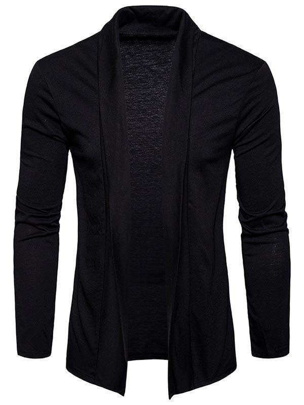 Plain Shawl Collar Open Front Cardigan - BLACK L