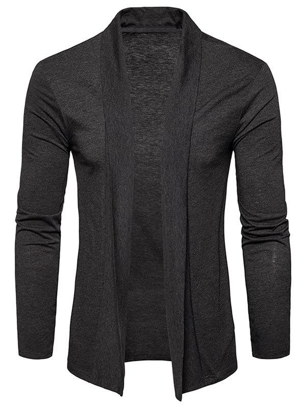 Plain Shawl Collar Open Front Cardigan - DEEP GRAY L