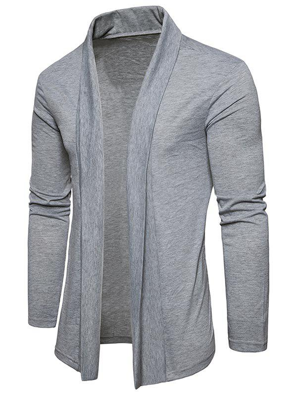Plain Shawl Collar Open Front Cardigan - LIGHT GRAY M