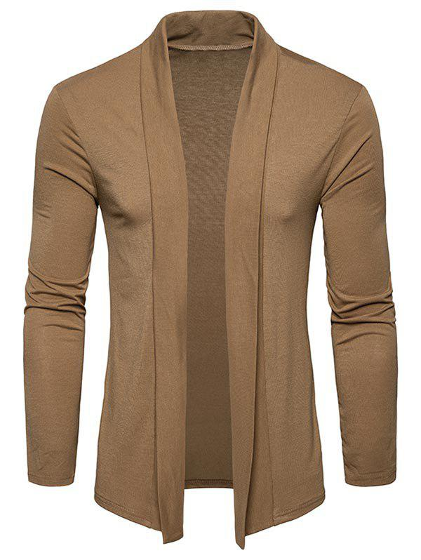 Plain Shawl Collar Open Front Cardigan - KHAKI 2XL