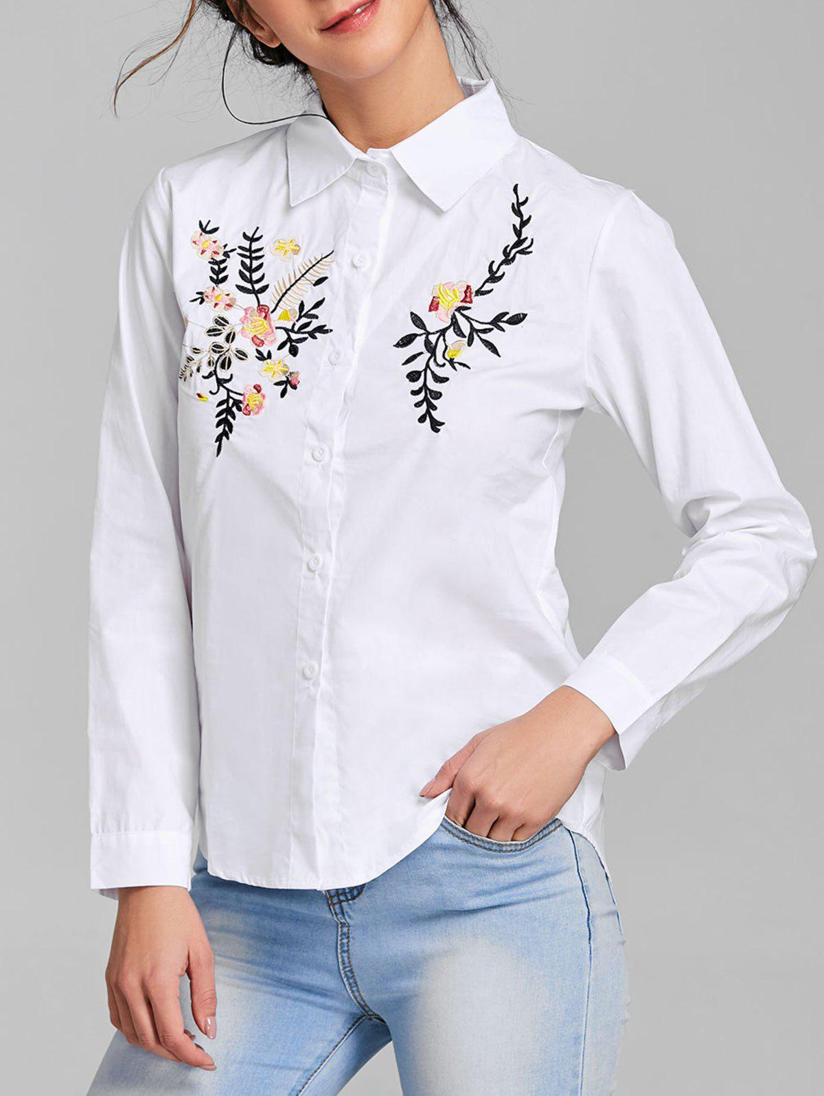 Long Sleeve Embroidery Shirt - WHITE S