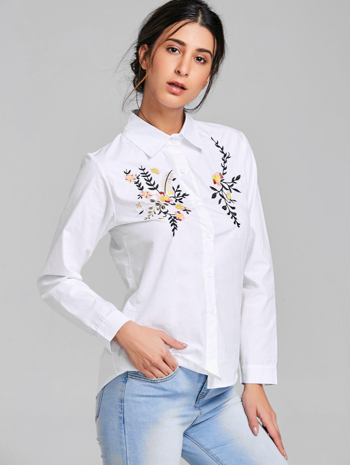Long Sleeve Embroidery Shirt - WHITE L