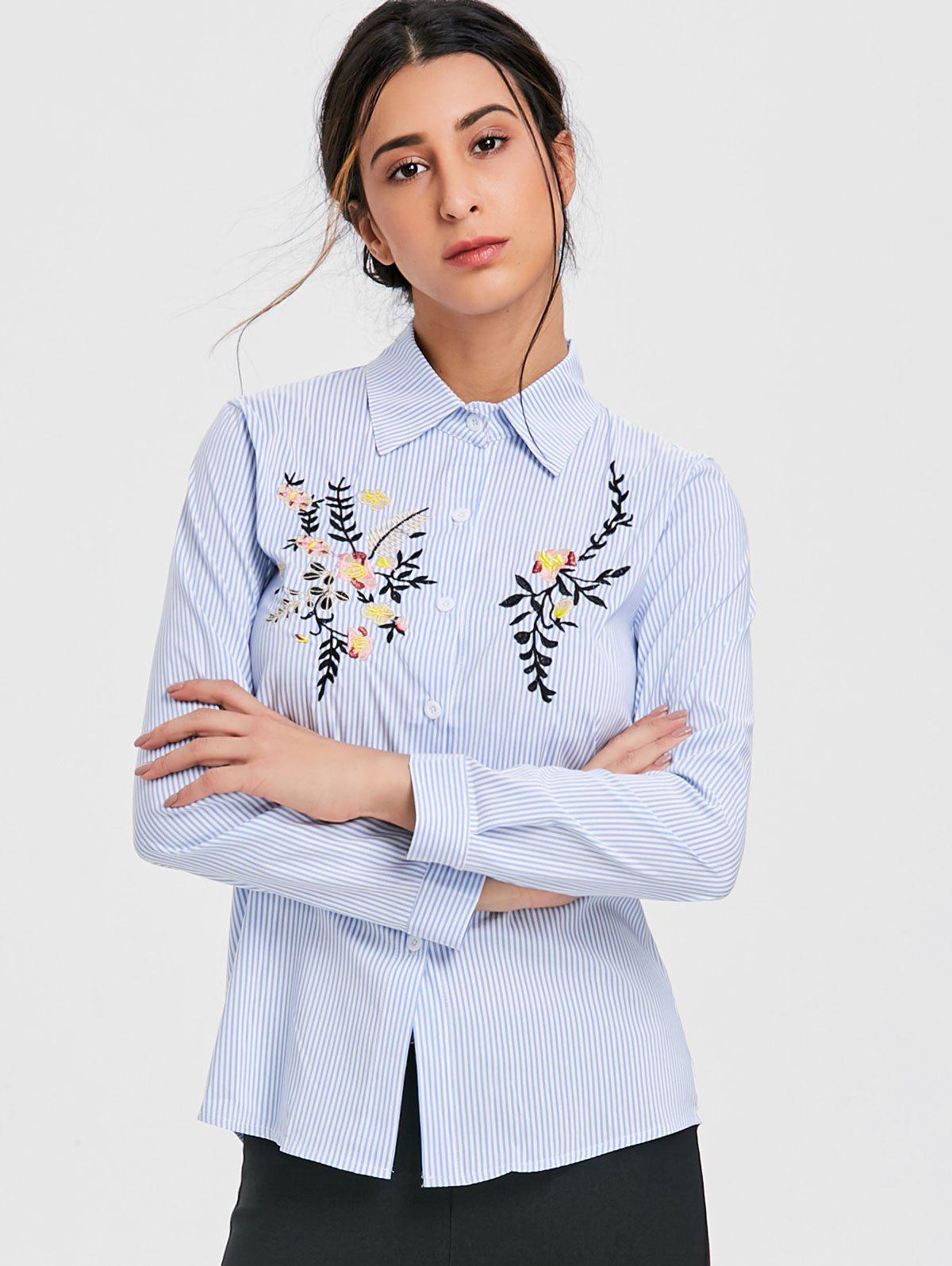 Long Sleeve Embroidery Shirt - LIGHT BLUE S