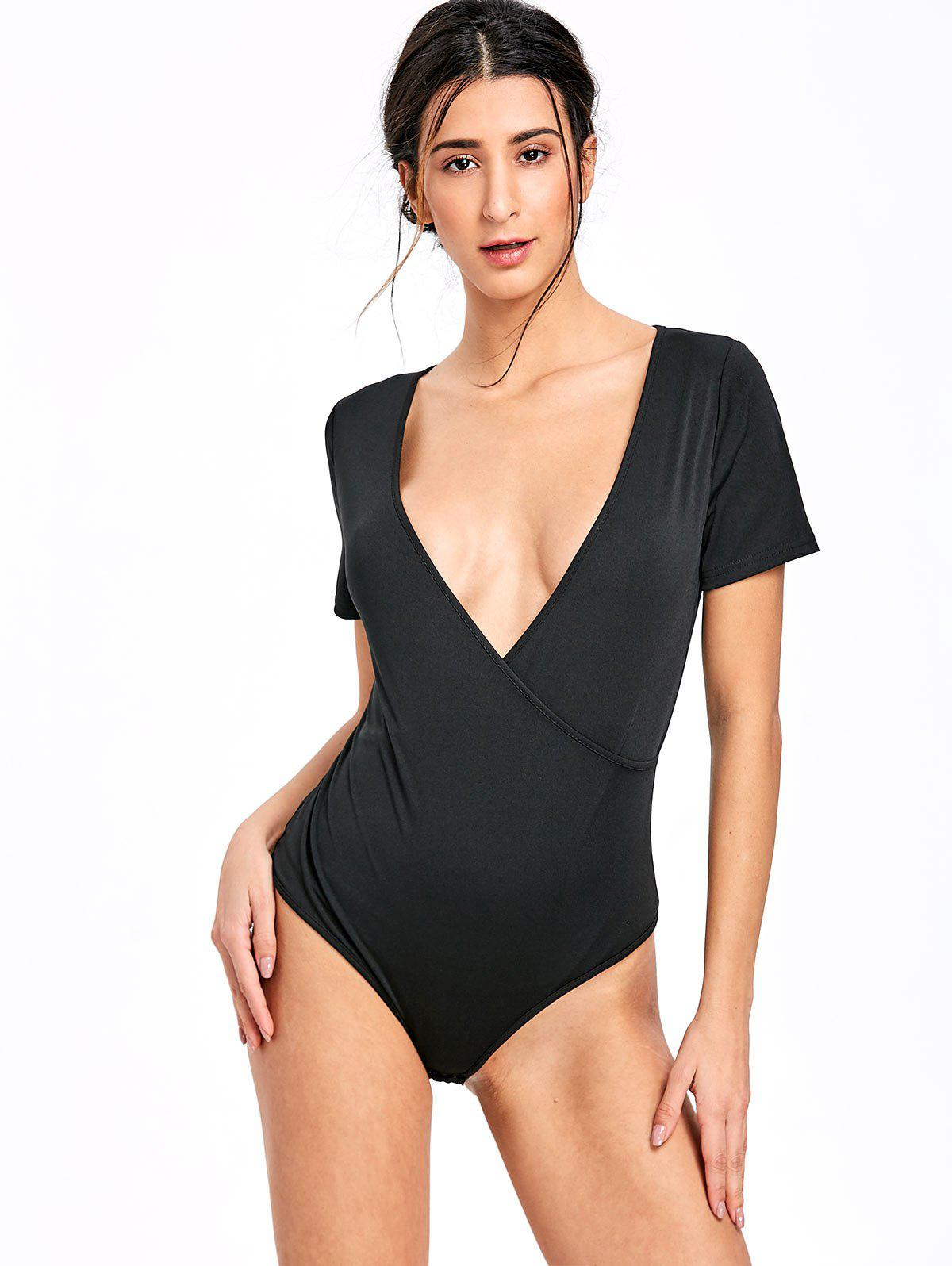 Skinny Surplice Plunging Bodysuit - BLACK XL