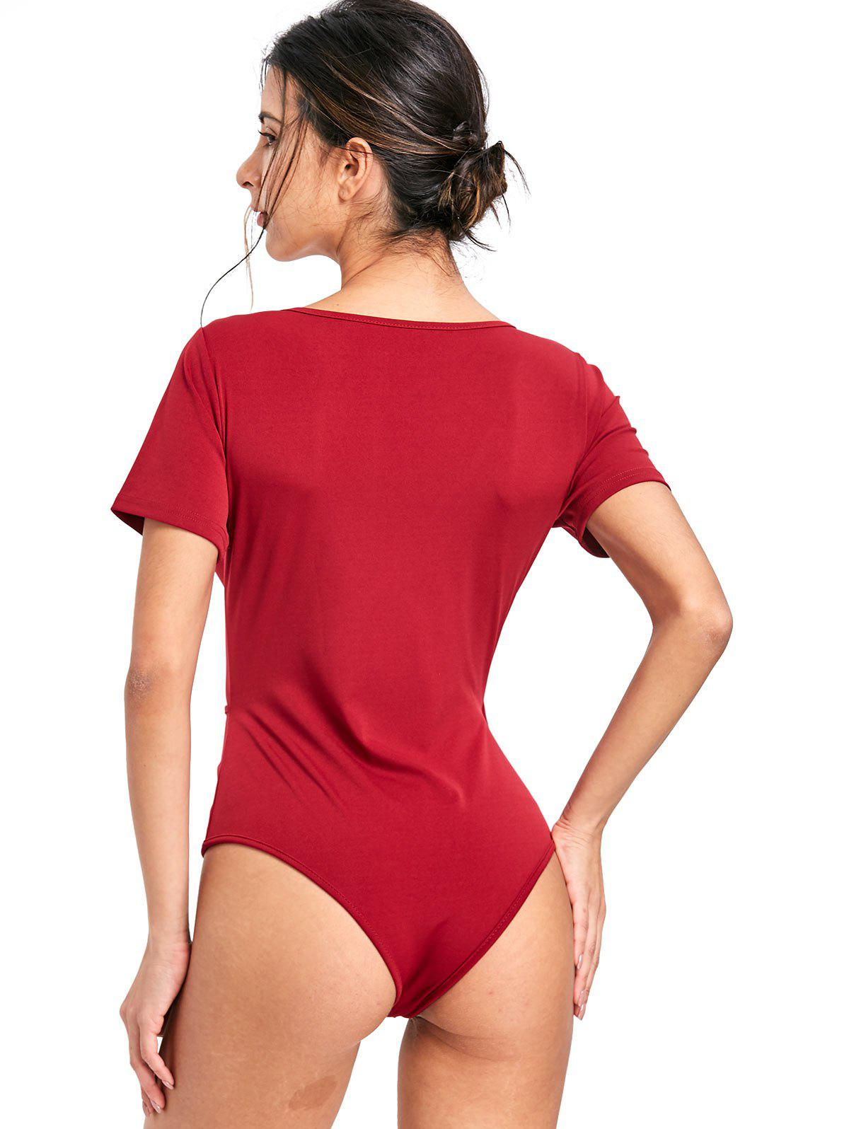 Skinny Surplice Plunging Bodysuit - WINE RED XL