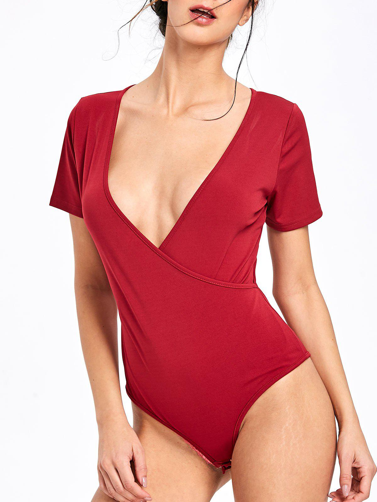 Skinny Low Cut Bodysuit - WINE RED S